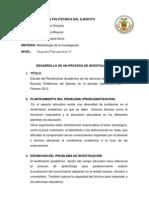 DESARROLLO DE UN PROCESO DE INVESTIGACIÓN
