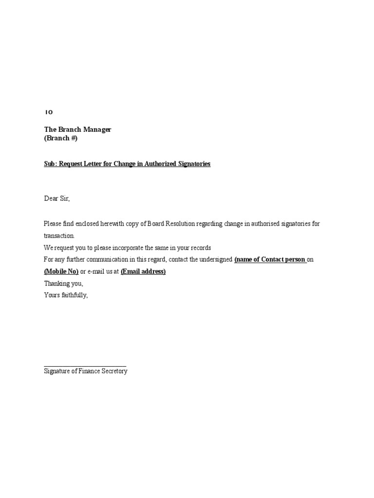 Request Letter for Change in Authorized Signatoriesdoc – Address Change Letter Template