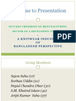 Success criterion of Manufacturing industry in a Developing country