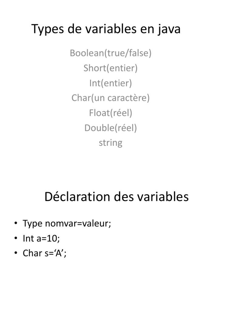 Notions De Base En Java
