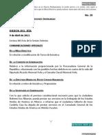 09/04/13 Orden del Día en Cámara de Diputados