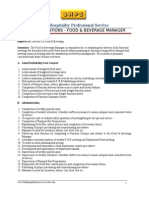 F&B Manager Job Specifications
