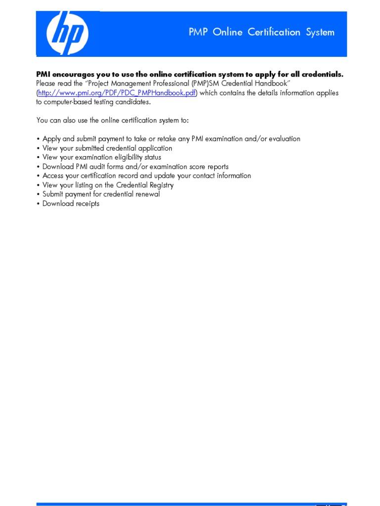 Pmp Online Certification System Project Management Professional