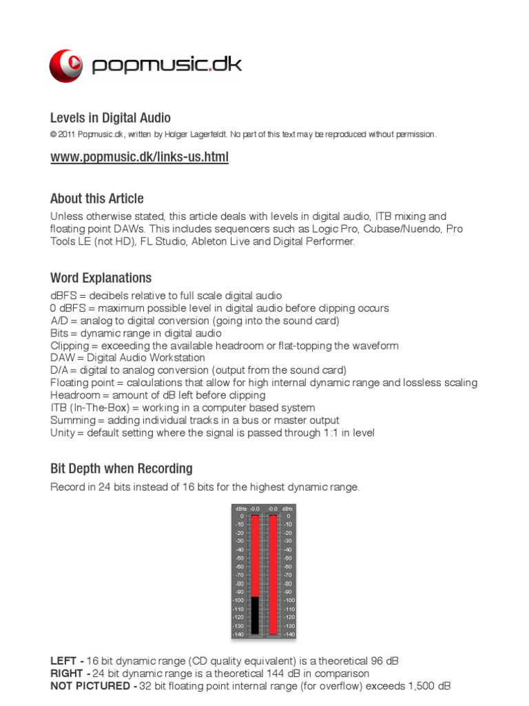 Levels in Digital Audio   Digital To Analog Converter   Analog To
