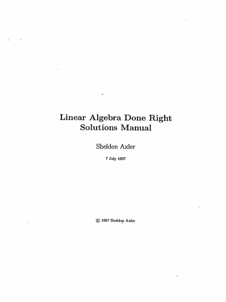 linear algebra done right solutions manual rh scribd com Algebra for All michael artin algebra solutions manual