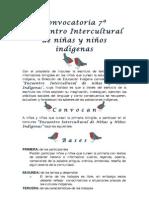 Convocatoria 7º Encuentro Intercultural de niñas y niños indígenas