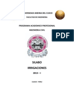 Silabo Irrigaciones 2013-I Ing° Carlos Luna