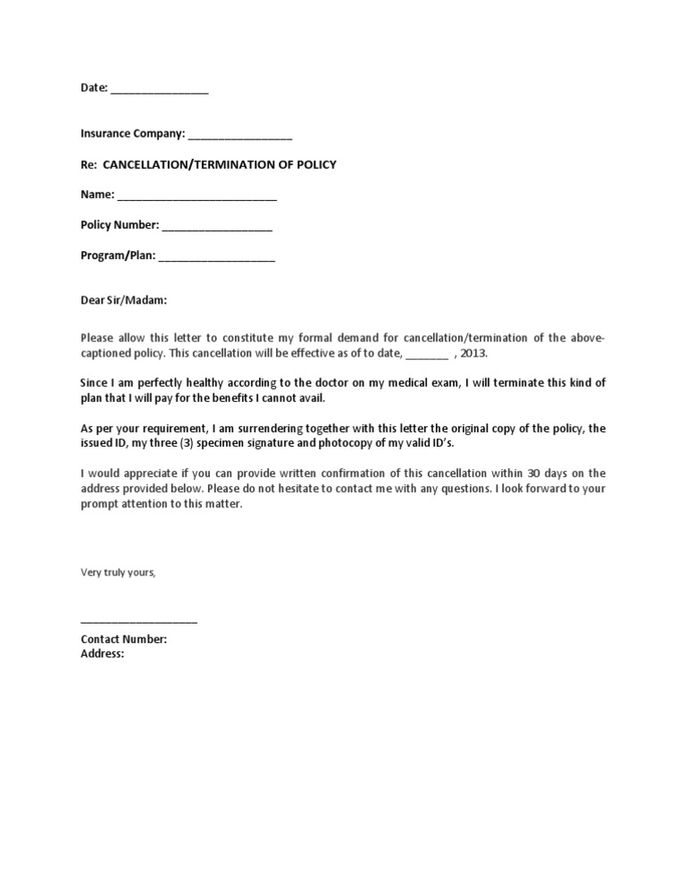 Cancellation Of Insurance Letter from imgv2-2-f.scribdassets.com