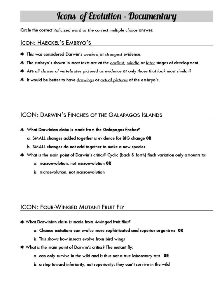 Icons of Evolution Worksheet Charles Darwin – Evidence of Evolution Worksheet