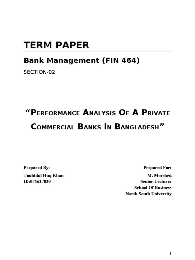 analysis of commercial bank