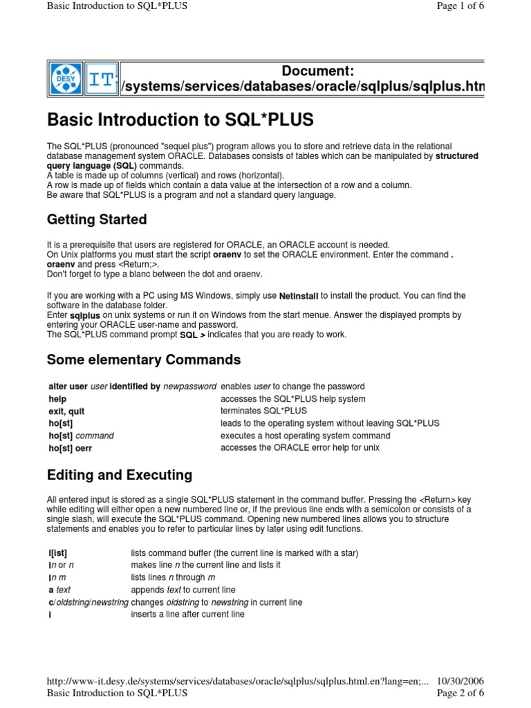 sqlplus | Sql | Table (Database)