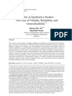 Quality in Qualitative Studies the Case of Validity Reliability and Generalizability