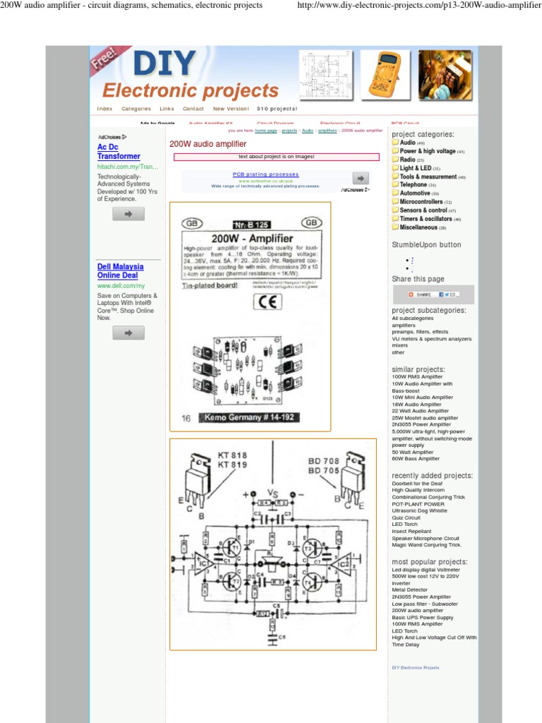 200w Audio Amplifier Circuit Diagrams Schematics Electronic Mosfet Design Projects Electrical Network
