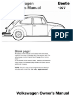 VW Beetle 1977 Owners Manual