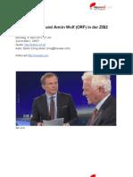 Transkript Interview mit Frank Stronach und Armin Wolf (ORF) in der ZIB2 (9. April 2013)