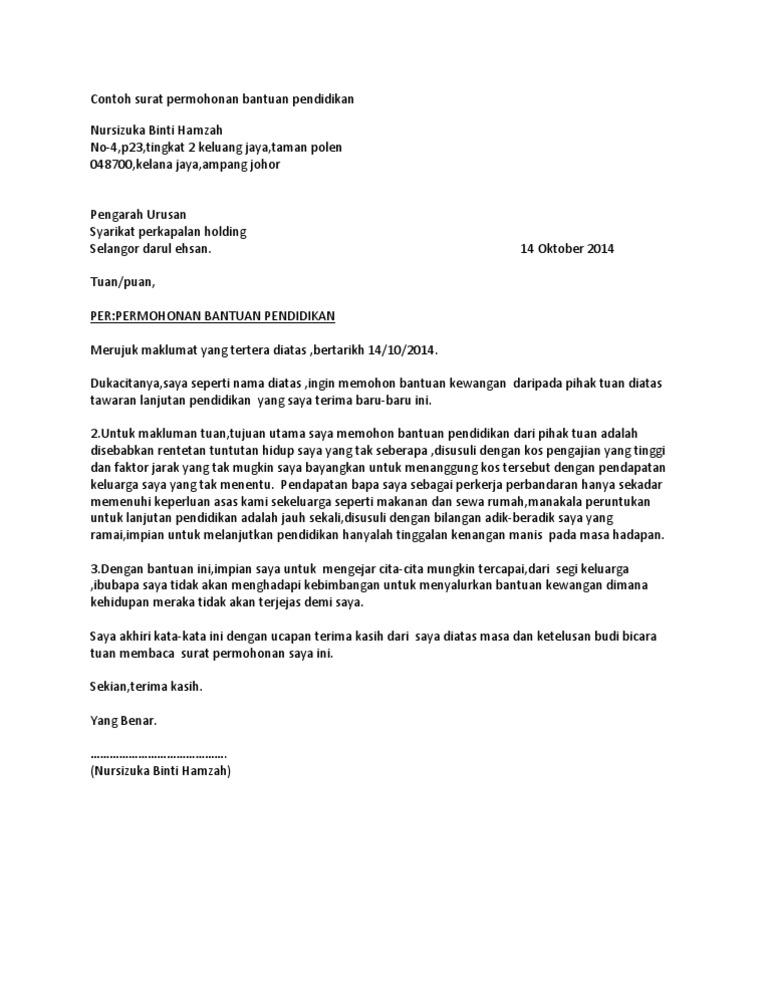 Surat Permohonan Bantuan Just4udakar Com