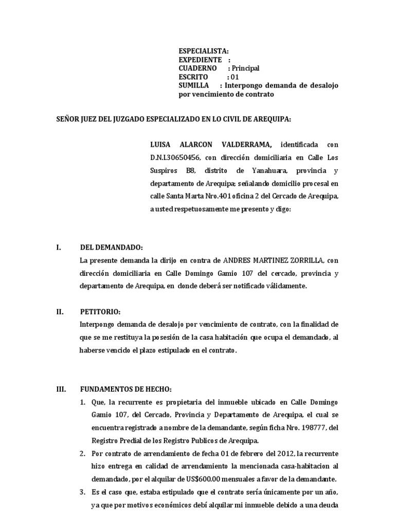 Demanda desalojo por vencimiento contrato - Contrato de arrendamiento de oficina ...
