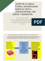 APLICACION LOGICA COMBINACIONAL DECODIFICADOR BINARIO 3 BITS BINARIO A DECIMAL CON DISPLAY 7 SEGMENTOS.pdf