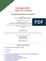 Hl. Vinzenz von Lerin - COMMONITORIUM - Mahnschrift gegen die Irrlehrer