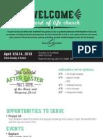 Church Bulletin for April 12 & 14, 2013