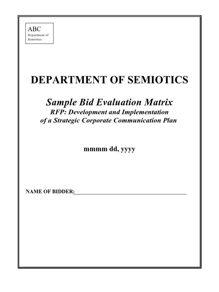 Sample -Bid Evaluation Guide | Request For Proposal | Per Diem