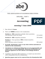 ABE Dip 1 -Financial Accounting JUNE 2005