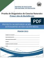 Prueba de Diagnóstico- Ciencias Naturales -Primer Año Bachillerato - PRAEM 2013