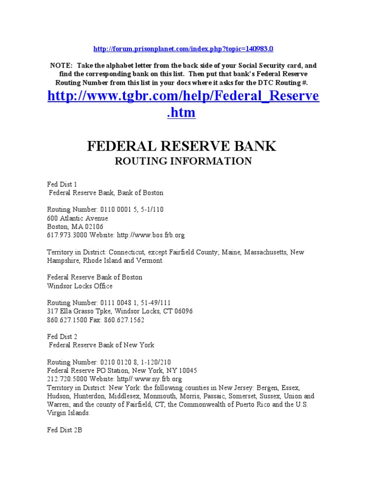 federal reserve bank search routing numbers