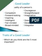 Week 6 - Traits of a Good Leader