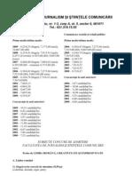 Subiecte Admitere 2009 Facultatea de Jurnalism Si Stiintele Comunicarii