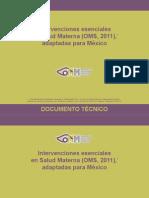 Intervenciones esenciales en Salud Materna (OMS, 2011) adaptadas para México
