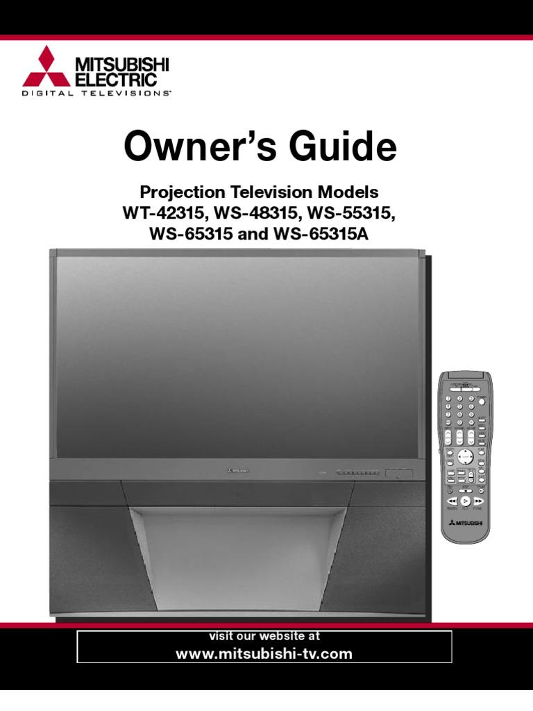 user manual to mitsubishi projection tv ws 65315 digital rh scribd com mitsubishi tv hdtv 1080 manual Mitsubishi HDTV 1080 Series