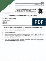 Percubaan Upsr Johor 2012 Bahasa Inggeris Kertas 1