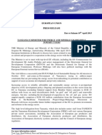 Press Release-TZ Minister ForEnergy and Minerals Visits Brussels for Key Talks April 10, 2013