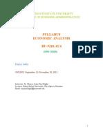 Syllabus Economic Analysis Fall 2011
