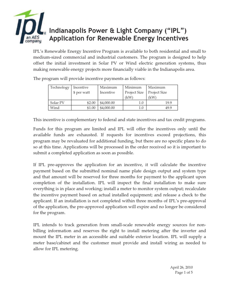 Indianapolis Power And Light Co Residential Renewable Energy Incentive Program    Renewable Energy   Wind Power