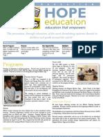 Hope Education Monthly Newsletter February 2013