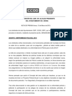 Nota de Prensa Uniformidad Policial Arona