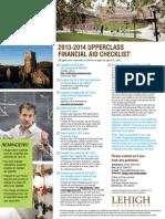 2013-2014 Upperclass Financial Aid Checklist