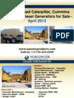 New and Used Caterpillar, Cummins and Kohler Diesel Generators for Sale - April 2013