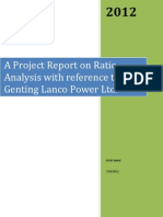 MBA Finance Project Report on Ratio Analysis