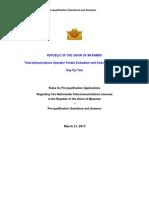BURMA MYANMAR TELECOM LICENSES Pre-qualification LIST  -ENGLISH