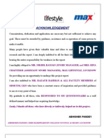 To study the consumer behaviour in Max lifestle retail, lucknow