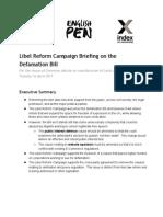 Libel Reform Campaign Defamation Bill Briefing April 2013