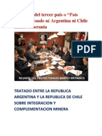 """Blanqueo del tercer país o """"País Virtual"""" donde ni Argentina ni Chile tienen soberanía- TRATADO ENTRE LA REPUBLICA ARGENTINA Y LA REPUBLICA DE CHILE SOBRE INTEGRACION Y COMPLEMENTACION MINERA"""