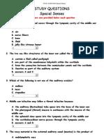 Study Questions Special Senses