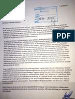 Lettre de démission de Régine Godefroy, Ministre de la Communication
