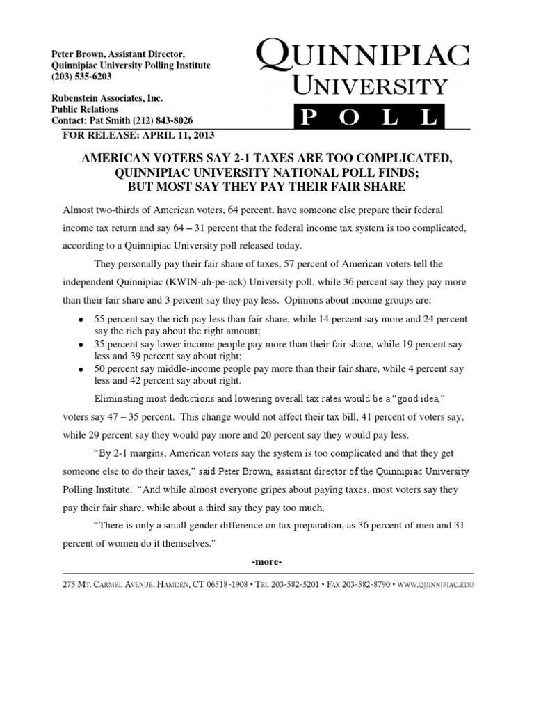 Quinnipiac Tax Poll   Withholding Tax   Opinion Poll