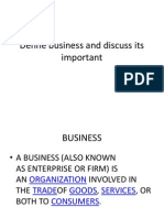Define Business and Discuss Its Important