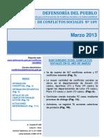 Reporte Mensual Conflictos Sociales 109 Marzo 2013
